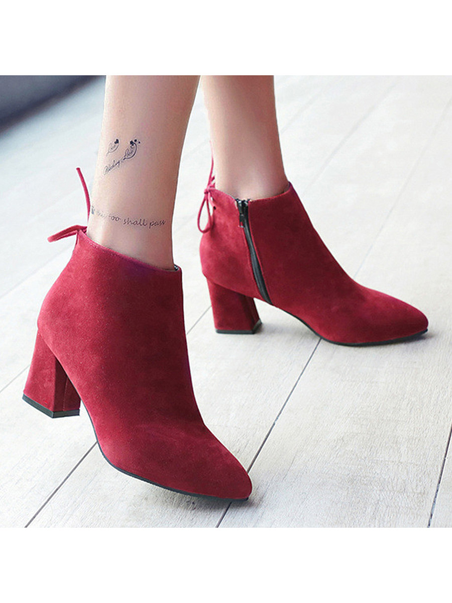 BerryLook Plain  Chunky  High Heeled  Velvet  Point Toe  Date Outdoor High Heels Boots