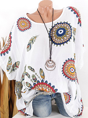 Round Neck Floral Printed Short Sleeve T-Shirts, 7160808
