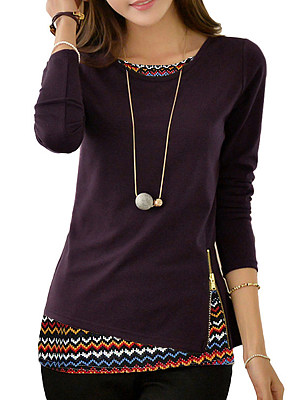 Round Neck Patchwork Casual Printed Long Sleeve T-Shirt, 9006425