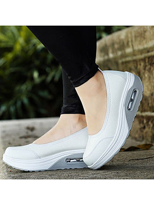 Plain Mid Heeled Round Toe Casual Sneakers, 4920153