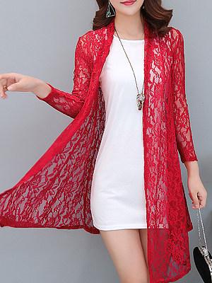 Asymmetric Hem See-Through Floral Long Sleeve Cardigans