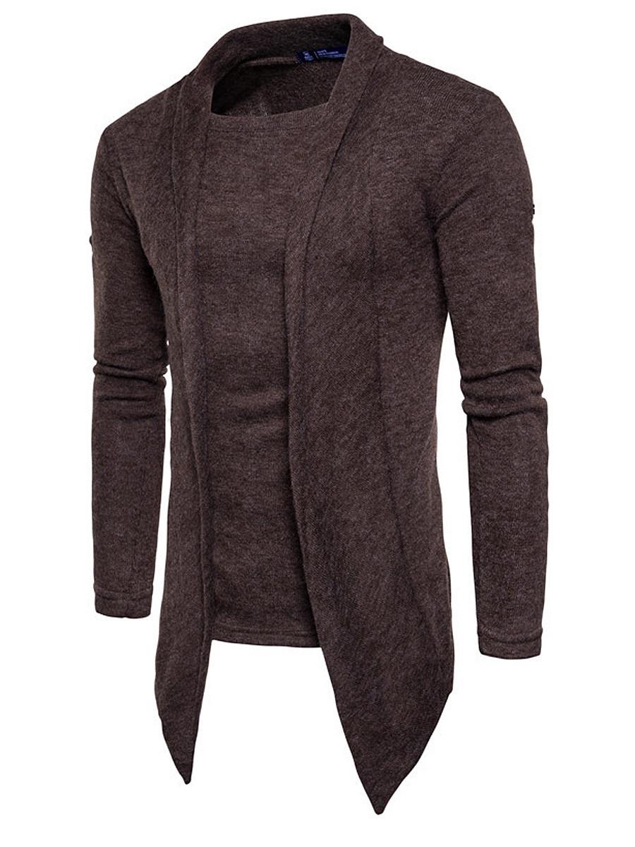 Asymmetric Hem Plain Men Fake Two-Piece Sweater