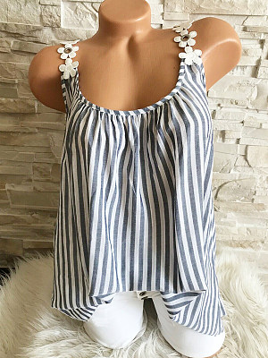 Round Neck Lace Up Patchwork Striped Sleeveless T-Shirts фото