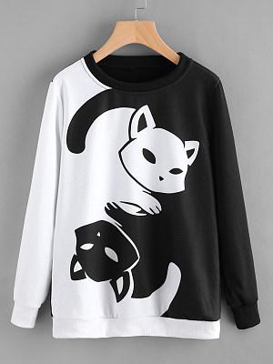 Round Neck Printed Long Sleeve Sweatshirts