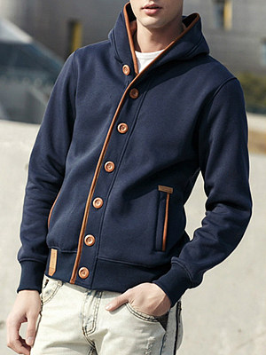 Men Hooded Contrast Trim Single Breasted Coat фото