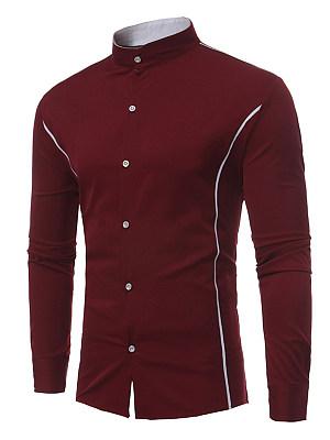 Band Collar Contrast Piping Men Shirts