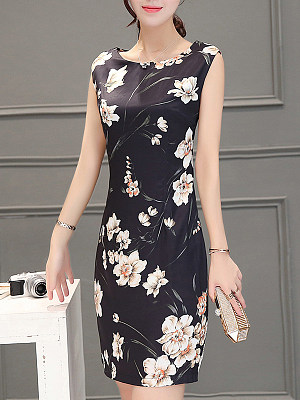 Berrylook coupon: Round Neck  Floral Printed Bodycon Dress