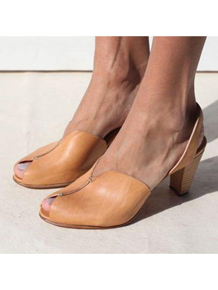 Vintage Plain Peep Toe Casual Date Sandals