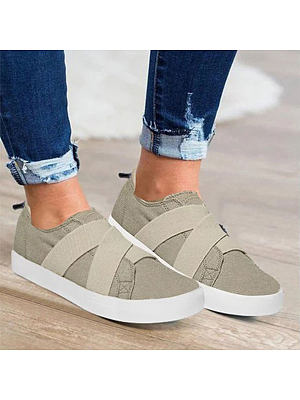 Plain Flat Round Toe Casual Travel Sneakers, 7164348