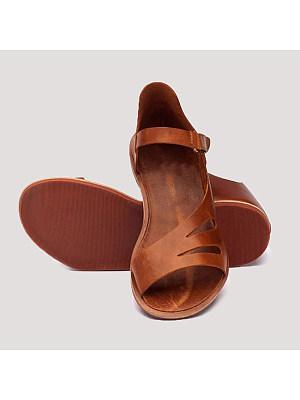 Plain Flat Peep Toe Casual Flat Sandals, 6755923