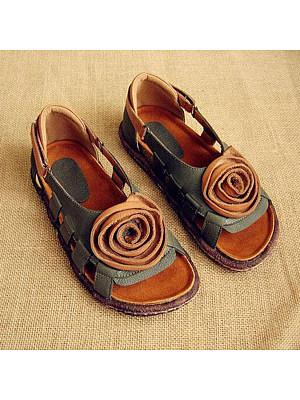 Color Block Flat Peep Toe Casual Travel Flat Sandals фото