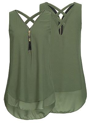 V Neck Backless Zipper Plain Blouses, 6562150