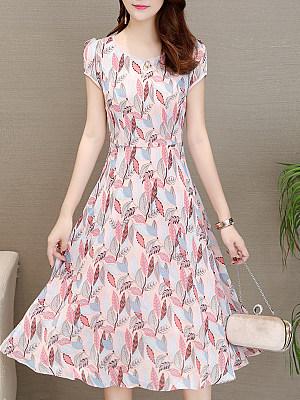 Round Neck Print Shift Dress, 4974209