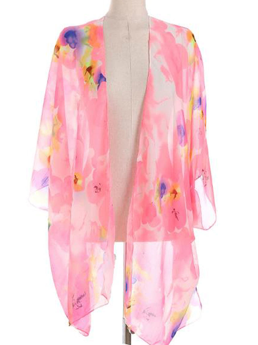 Image of Abstract Print Kimono Sleeve Three-Quarter Sleeve Kimono