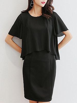 Round Neck Plain Batwing Sleeve Bodycon Dress