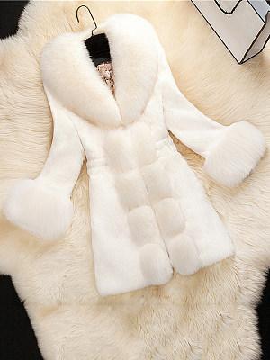 Faux Fur Collar Plain Coat фото