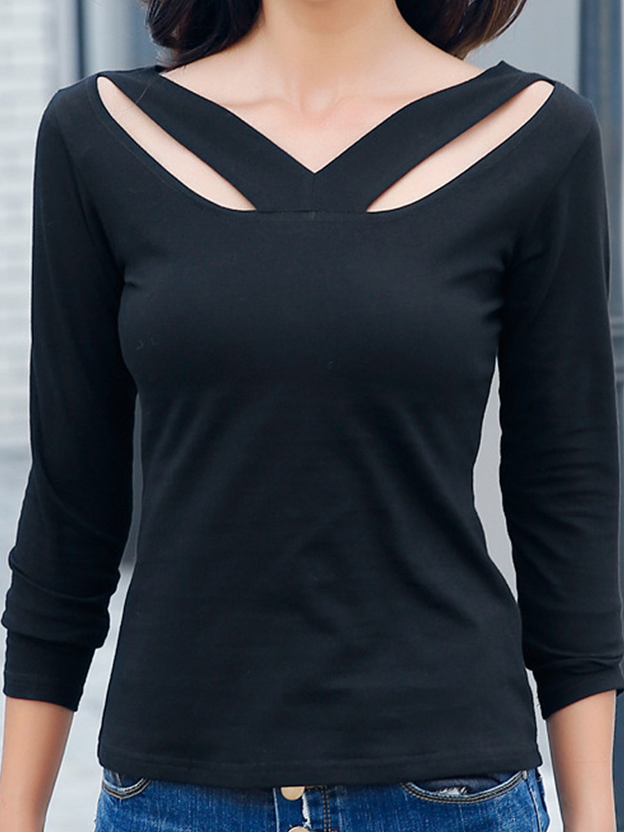 Asymmetric Neck  Plain Long Sleeve T-Shirts