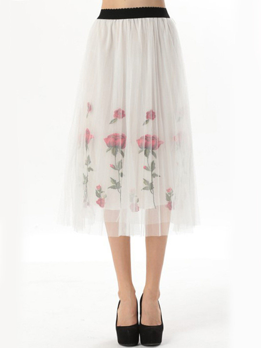 Embroidery Hollow Out Elastic Waist Flared Maxi Skirt