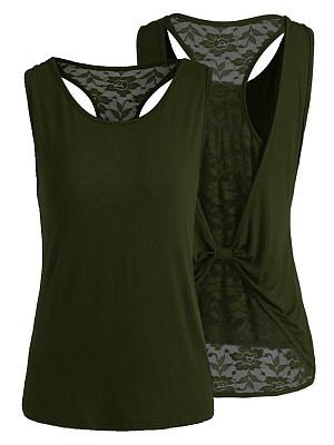 Round Neck Patchwork Lace Plain Sleeveless T-Shirts, 6876132