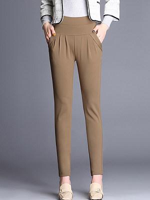 Plain Pocket Slim-Leg Casual Pants