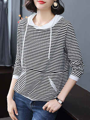 Hat Collar Patchwork Casual Striped Long Sleeve T-Shirt, 9230697