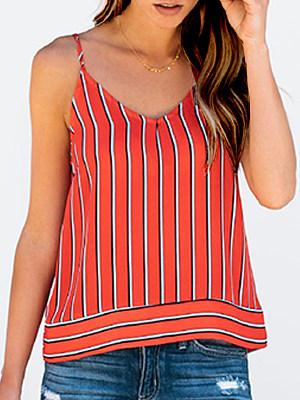 V Neck Bow Stripes Blouses, 6583584