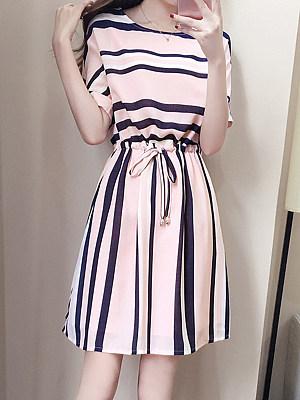 Round Neck Drawstring Striped Skater Dress фото