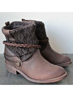 Plain Round Toe Casual Outdoor Short Flat Boots, 5477516