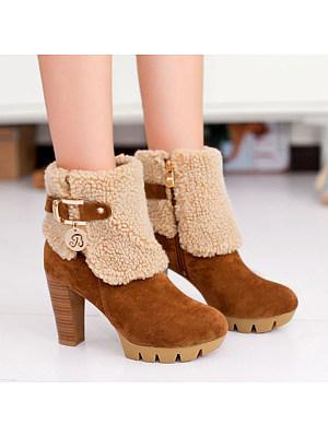 Plain Chunky High Heeled Velvet Round Toe Date Outdoor Short High Heels Boots, 5845651
