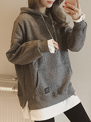 Patch Pocket Patchwork  Plain  Long Sleeve Hoodies gender:woman, season:autumn, collar:around neck, material:polyester, sleeve_length_1:long sleeve, style:sports style, top_collar:wearing a collar,