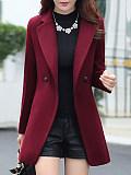 Image of Lapel Pocket Plain Woolen Coat