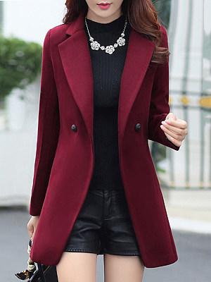 Lapel Pocket Plain Woolen Coat