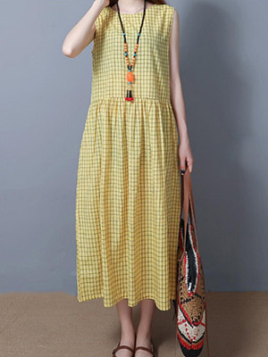 Round Neck Patch Pocket Checkered Maxi Dress, 7013176