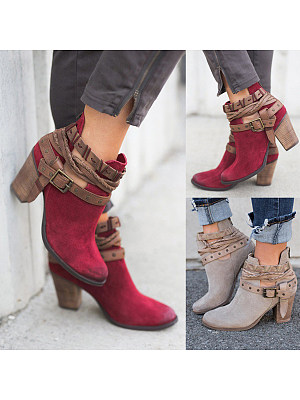 Berrylook coupon: Color Block  Chunky  High Heeled  Velvet  Round Toe  Outdoor High Heels Boots