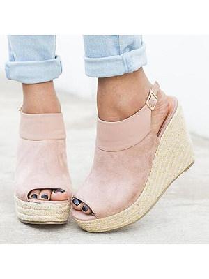 Plain High Heeled Velvet Ankle Strap Peep Toe Date Wedge Sandals, 4908179