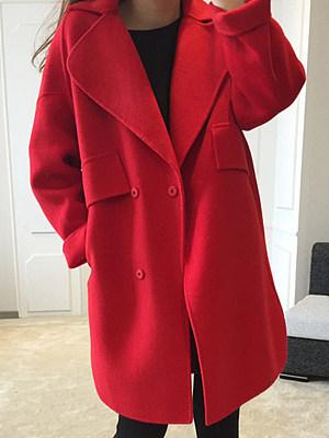 Fold-Over Collar Double Breasted Flap Pocket Plain Long Sleeve Coats, 5507230