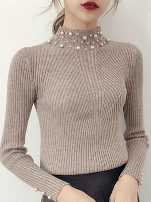 High Neck  Beading  Plain Knit Pullover