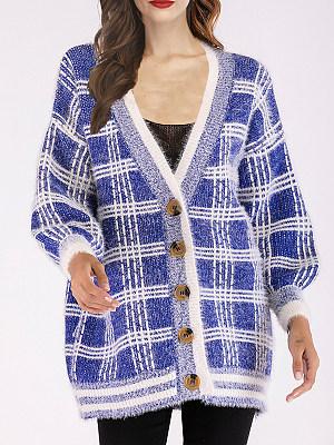 V Neck Casual Plaid Long Sleeve Knit Cardigan, 9477980