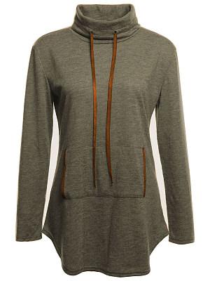 Cowl Neck Kangaroo Pocket Plain Sweatshirt