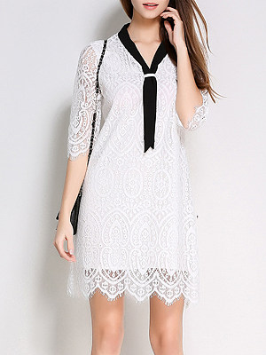 Tie Collar Lace Shift Dress, 8506707
