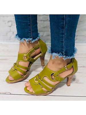 Plain Chunky High Heeled Peep Toe Date Travel Sandals, 7051338