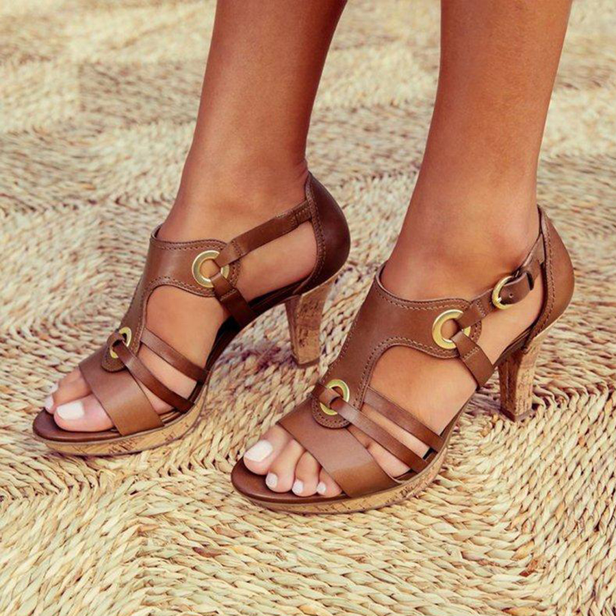 Peep Chunky High Travel Plain Toe Sandals Heeled Date f6bYy7g