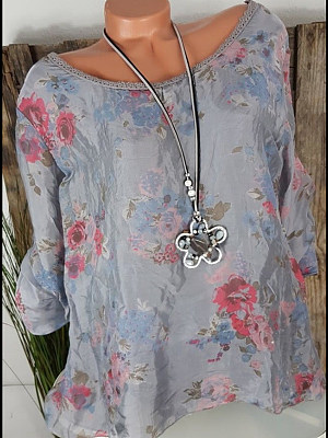 Round Neck Printed Blouses, 6647012