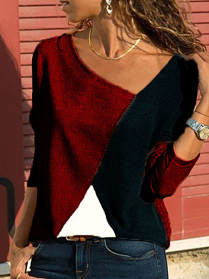 Round Neck Patchwork Casual Color Block Long Sleeve T-Shirts, 8007631