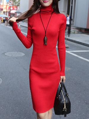 High Neck Plain Bodycon Dress фото