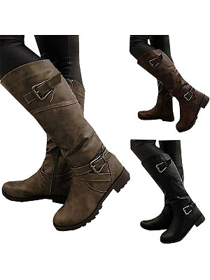 Plain Chunky Low Heeled Round Toe Casual Date Flat Boots фото