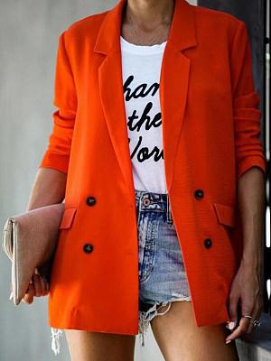 BERRYLOOK Fold-Over Collar Plain Blazers