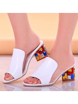 Plain  Chunky  High Heeled  Peep Toe  Date Peep-Toe Heels
