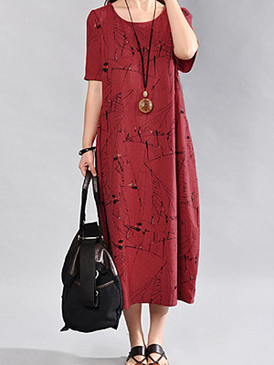 Round Neck Abstract Print Sack Maxi Dress, 3551966