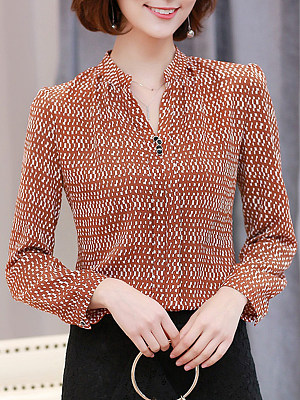 Autumn Spring  Cotton Blend  Women  V-Neck  Polka Dot  Long Sleeve Blouses